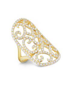 Dabakarov 14KYG Open Swirl Diamond Dinner Ring