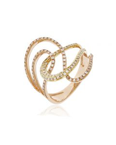 Luvente 14K Two Tone Gold Diamond Inter-Loop Ring