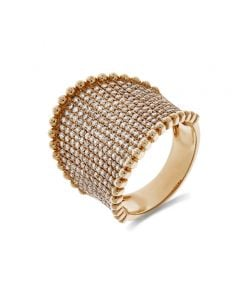 Luvente 14K Rose Gold Diamond and Beaded Edge Wide Concave Ring