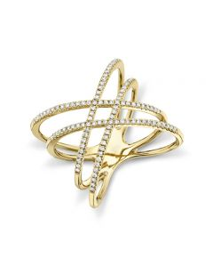 Shy Creation 14K Yellow Gold Triple Crossover Ring