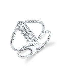 Shy Creation 14K White Gold Open Shank Diamond Bar Ring