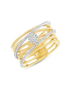 Shy Creation 14K Two Tone Diamond Cluster and Crossover Bridge Band
