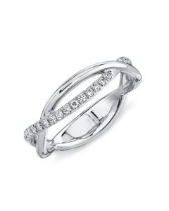 Shy Creation 14K White Gold Diamond Double Crossover Band