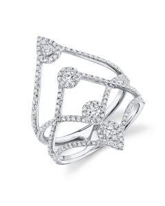 Shy Creation 14K White Gold Multi-Halo Wide Open Diamond Ring
