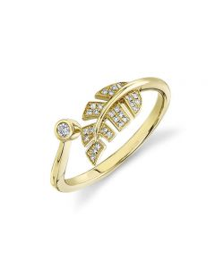 Shy Creation 14K Yellow Gold Diamond and Leaf Ring