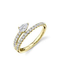 Shy Creation 14KYG Pear Diamond Tip Bypass Ring