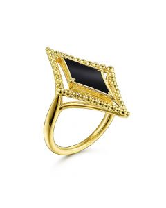 Gabriel & Co 14K Yellow Gold Onyx Bujukan Rhombus Ring