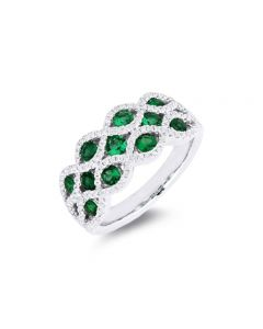 Madison L 18K White Gold Wide Emerald and Diamond Infinity Ring