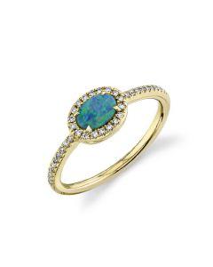 Shy Creation 14KYG Color Oval Opal and Diamond Ring