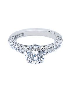 Tacori 18KWG Cresent Collection 0.99ct Semi Mount with CZ Center
