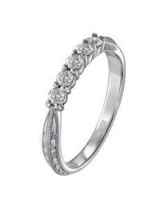 Scott Kay Platinum Engraved Five Diamond 0.30ctw Wedding Band