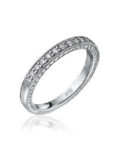 Scott Kay Palladium Engraved Three Sided Diamond Wedding Band
