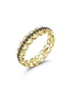 Gabriel & Co 14K Yellow Gold Black Diamond Scallop Ring