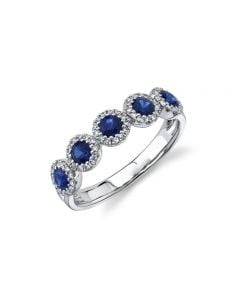 Shy Creation 14K White Gold Sapphire and Diamond Halo Station Ring
