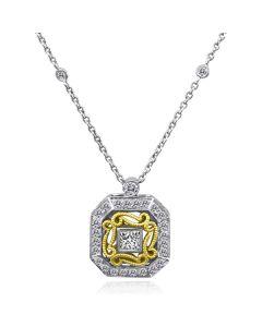 Dev Valencia 18K Two Tone Square Diamond Pendant on Diamond Link Chain