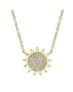 Shy Creation 14K Yellow Gold Pave Sun Pendant Diamond Necklace