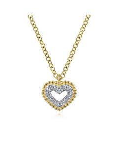 Gabriel & Co 14K Yellow Gold Diamond Heart and Bujukan Frame Pendant Necklace