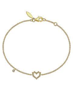 Gabriel & Co 14K Yellow Gold Beaded Open Heart Bracelet