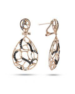 Dabakarov 14KRG Pear Shaped Open Cutwork Dangle Earrings