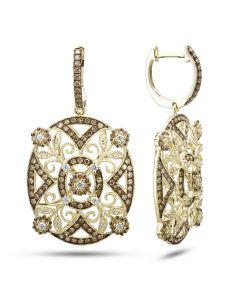 Dabakarov 14KYG Oval Filigree Brown Diamond Earrings