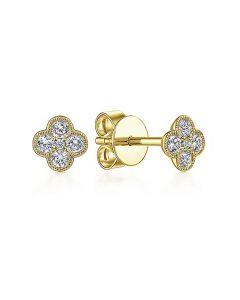 Gabriel & Co 14K Yellow Gold Clover Diamond Stud Earrings