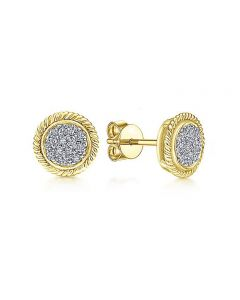 Gabriel & Co 14K Yellow Gold Diamond Stud Earrings with Rope Frame