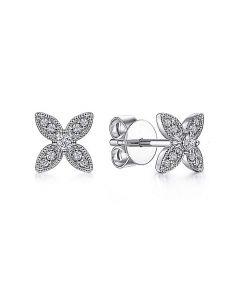 Gabriel & Co 14K White Gold Flower Diamond Stud Earrings