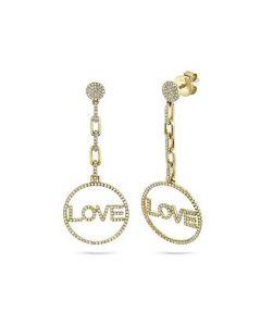 "Shy Creation 14K Yellow Gold ""Love"" Circle Dangle Earrings"