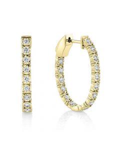 Shy Creation 14K Yellow Gold Oval Inside/Outside Diamond Earrings