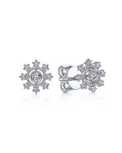 Gabriel & Co 14K White Gold Diamond Flower Studs