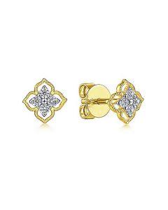 Gabriel & Co 14K Yellow Gold Diamond Flower Stud Earrings