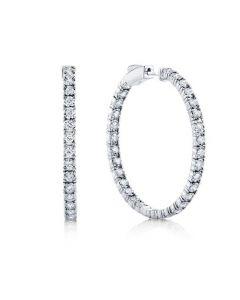 Shy Creation 14K White Gold Diamond Inside/Outside Hoop Earrings
