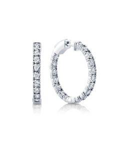 Shy Creation 14K White Gold Inside/Outside Diamond Hoop Earrings