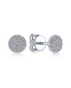 Gabriel & Co 14K White Gold Round Cluster Diamond Stud Earrings