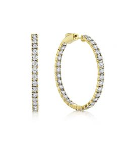 Shy Creation 14K Yellow Gold Diamond Inside/Outside Hoop Earrings