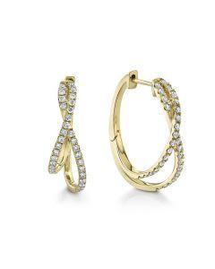 Shy Creation 14K Yellow Gold Eternal Oval Diamond Hoop Earrings