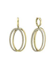 Shy Creation 14K Yellow Gold Double Oval Diamond Dangle Huggie Earrings