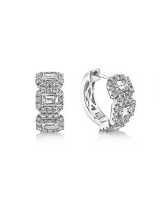 Shy Creation 14K White Gold Emerald Cut Diamond Halo Station Hoop Earrings