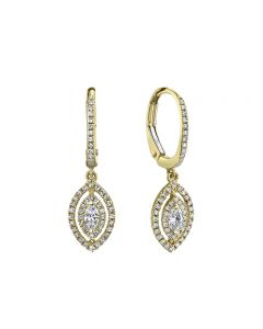 Shy Creation 14K Yellow Gold Double Marquise Halo Dangle Earrings