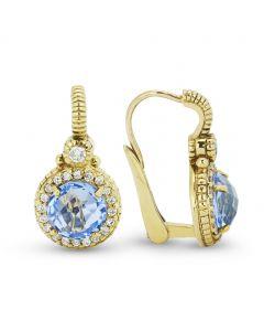 Judith Ripka 18KYG Round Blue Quartz Micro Pave Wire Earrings