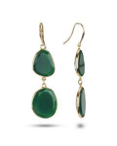 Dabakarov 14KYG Double Green Agate Fish Hook Dangle Earrings
