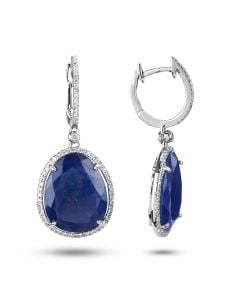 Dabakarov 14KWG Blue Sapphire Dangle Earrings