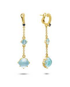 Judith Ripka 18KYG Flora Collection Blue Topaz Dangle Earrings