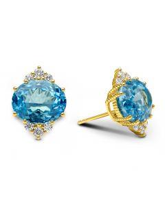Judith Ripka 18KYG Flora Collection Swiss Blue Topaz Button Earrings