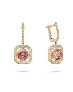 Doves 18KRG Morganite Flute of Rose Earrings
