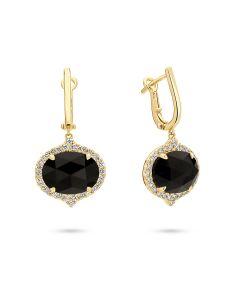 Doves 18KYG Oval Black Onyx Dangle Earrings