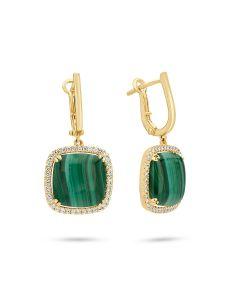 Doves 18KYG Malachite Dangle Earrings