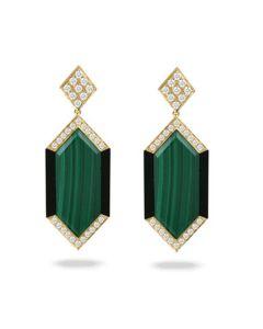 Doves 18KYG Malachite and Black Onyx Boarder Drop Earrings