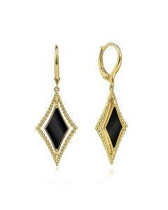 Gabriel & Co 14K Yellow Gold Bujukan Black Onyx Rhombus Drop Earrings