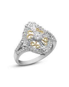 18K Tow Tone Diamond Dinner Ring
